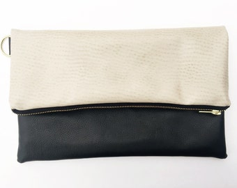Black and White Fold Over Clutch