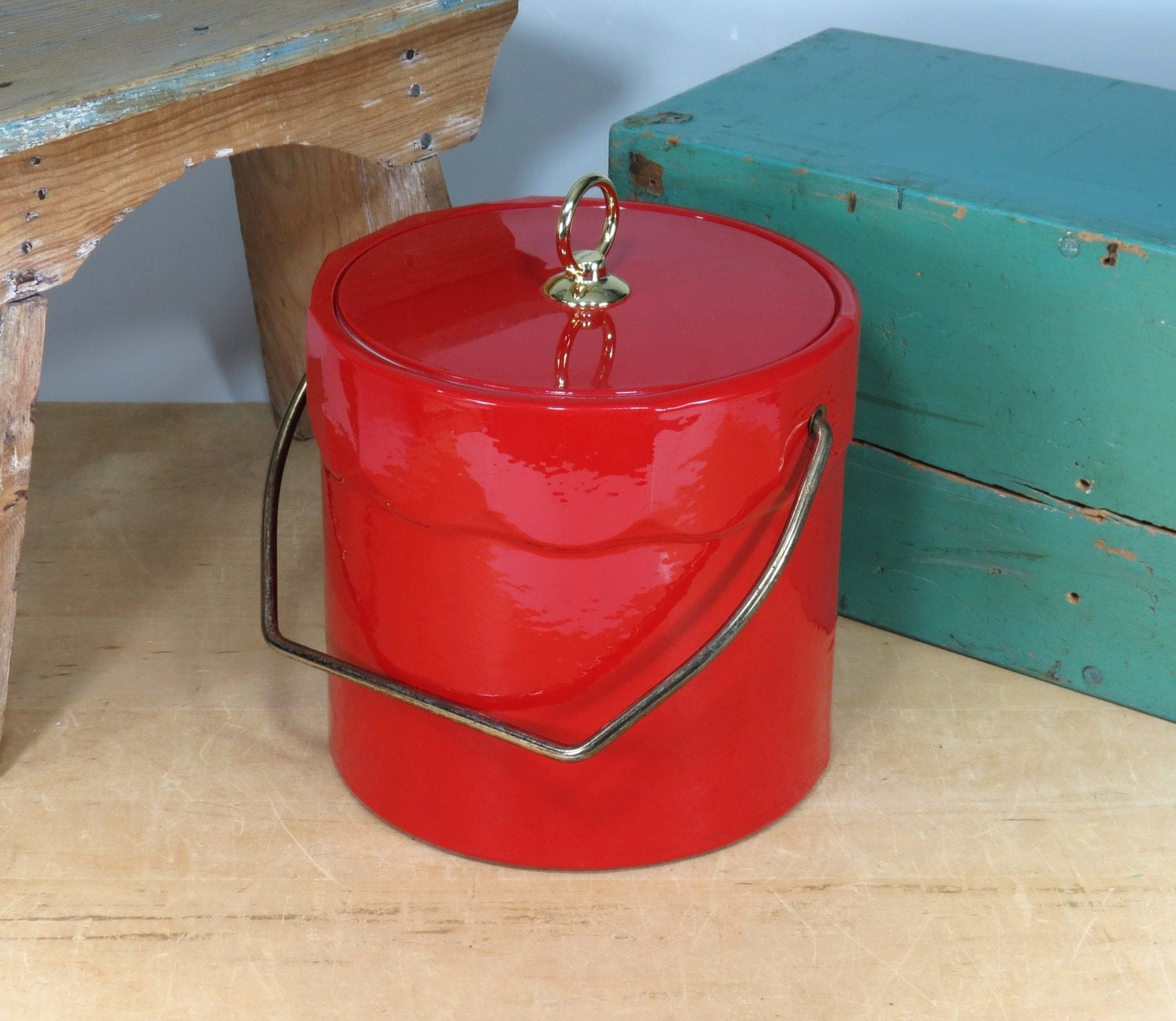 Vintage Vinyl Ice Bucket Shiny Bright Red Circa 1960s