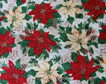 Poinsettia Christmas Fabric By The Yard
