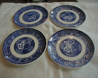 4 beautiful Blue and White saucers for mix and Match or to add to existing collection. They measures 6 inches in diameter.