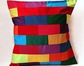 "Rainbow Bricks 20"" Handmade Cushion Cover / For the home / Home Decor / Throw Pillow / Modern Pillow"