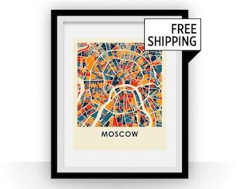 Moscow Map Print - Full Color Map Poster
