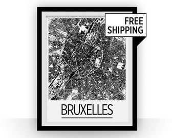 Brussels Map Poster - belgium Map Print - Art Deco Series