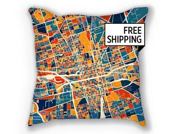 Stockton Map Pillow - California Map Pillow 18x18