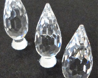 """SWAROVSKI Lot of 3 Topiary Retired Vintage Crystals Shrubs Bushes Collectibles 1 1/2 """" High"""