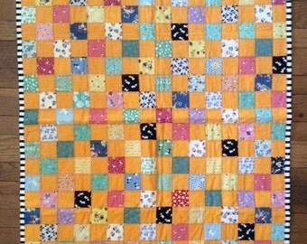 Orange mix baby quilt, Quilt Art, wall hanging, home decor, fabric art