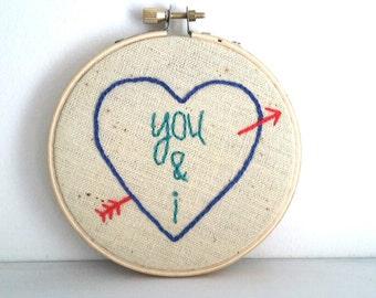 you and i - handmade embroidery hoop art