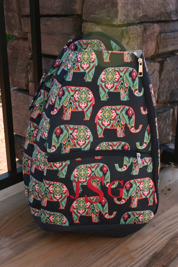 monogrammed tennis racket bag navy elephant print