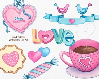 Sweets Coffee Cup Clip art, Candies Hearts Clipart, Watercolor Love Clipart, Heart Ornament Love Birds Banner, Party Birthday Invitation DIY