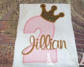 Pink and Gold Crown Number Bodysuit / T-shirt  - Birthday Personalized