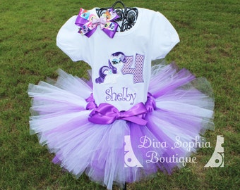 Personalized Rarity Tutu Set - Birthday Outfit - My Little Pony Tutu Set