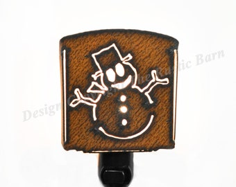 SNOWMAN Christmas nightlight night light made of Rustic Rusty Rusted Recycled Metal