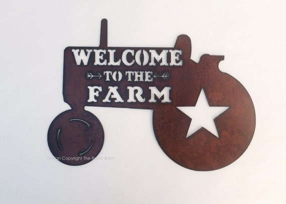 WELCOME to the FARM TRACTOR Sign made of Rustic Rusty Rusted Recycled Metal