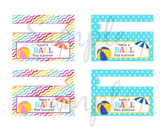 INSTANT Download Have a Ball this SUMMER 4 x 1.5 Goodie Treat Bag Topper  PRINTABLE Download - Fun Family Party diy
