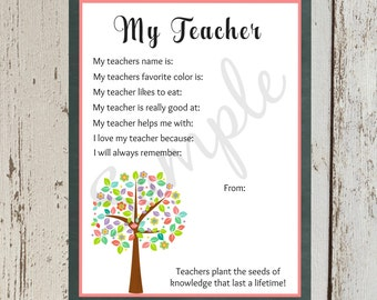 INSTANT Download All About MY TEACHER Printable Download Teacher Appreciation