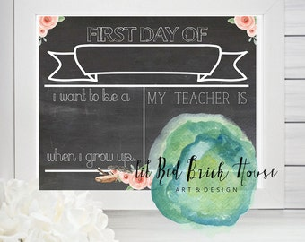 PDF// Write On// Editable// First Day of School Chalkboard Template// Floral//8.5x11// Printable//