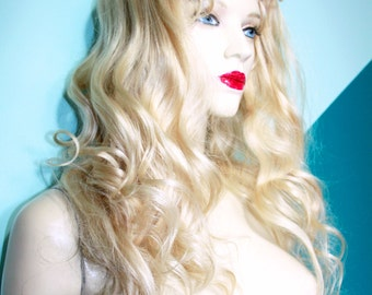 Blonde Silk Top Remi Remy Full Lace Human Hair Wig Wigs Long Body Wave #60 Length and Texture
