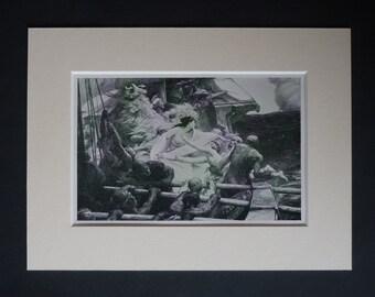 1913 Antique Herbert Draper Print of Medea and Absyrtus, Available Framed, Classicist Art Ancient Greek Mythology Gift Sailing Ship Wall Art