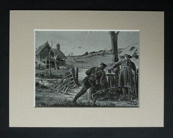 1920s Antique WW1 Print, Available Framed, WWI Art, Bedfordshire Regiment Gift for Soldier, Battlefield Wall Art, First World War Battle Art