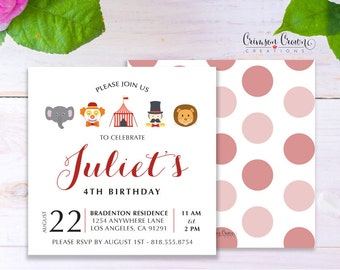 Circus Child's Birthday Invitation - Baby, Toddler, Kid's Birthday Party Invite - Under the Big Top Party - Digital File