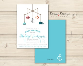 Nautical Sailor Baby Shower Invitation - Mobile Shower Party Invite - Simple Baby Shower - Digital File