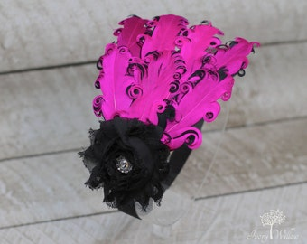 Hot Pink Feather Headband - Shocking Pink and Black Feather Headband - Hot Pink Headband- Baby Headband - Adult Headband - Feather Headband