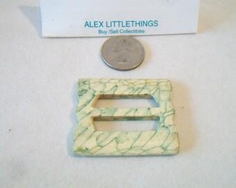 Vintage Marbled Green Bakelite Belt Buckle Slide Retro Accessories