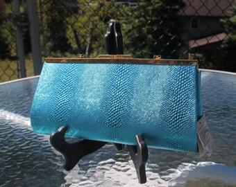 Shiny Blue Faux Alligator Clutch Evening Bag by Selena, New York