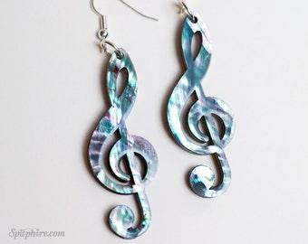 Treble Clef Earrings - Music Note Earrings - Mother of Pearl - Laser Cut