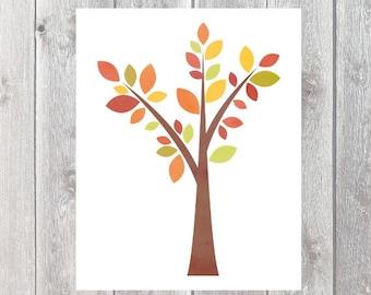 Fall Printable - Fall Tree Printable - Fall Home Decor - Fall Wall Art - Fall Print - Autumn  Tree Printable