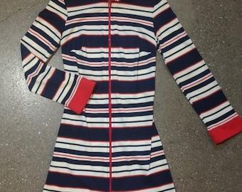 Vintage 70's Style Striped Mini Dress