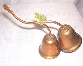 Choice of Double copper bells on stem brass leaves 1950s or Indian silver bell and candleholder vintage