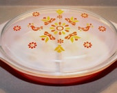 1970s Friendship Pattern Pyrex Divided Casserole Dish with Lid