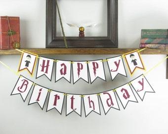 Happy Birthday Banner - Wizard Banner - Wizard Decor
