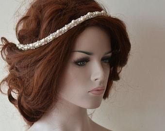 Pearl Bridal Headpiece, wedding pearl headband, pearl headpiece, wedding hair accessories, wedding hair jewelry