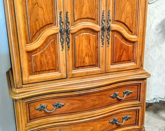 Pick your color - -  Vintage French provincial armoire hutch cabinet