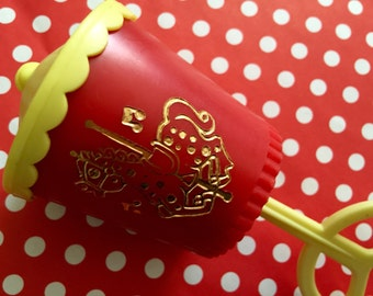 Vintage Chiming Plastic Baby Rattle Toy