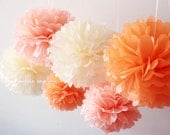 Warm Sunset - 6 Tissue Paper Pom Poms - for Baby Shower / Baptism / Birthday / Wedding Party Decoration - Fast Shipping