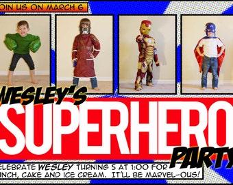 Super Hero Comic Invitation