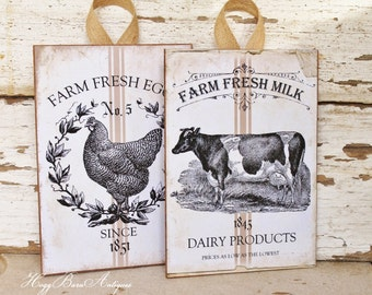 Farmhouse Wood Sign Wall Art Print Milk Eggs Grain Sack Chicken Cow Vintage French Country Farmhouse Decor Fixer Upper Decor SET OF 2