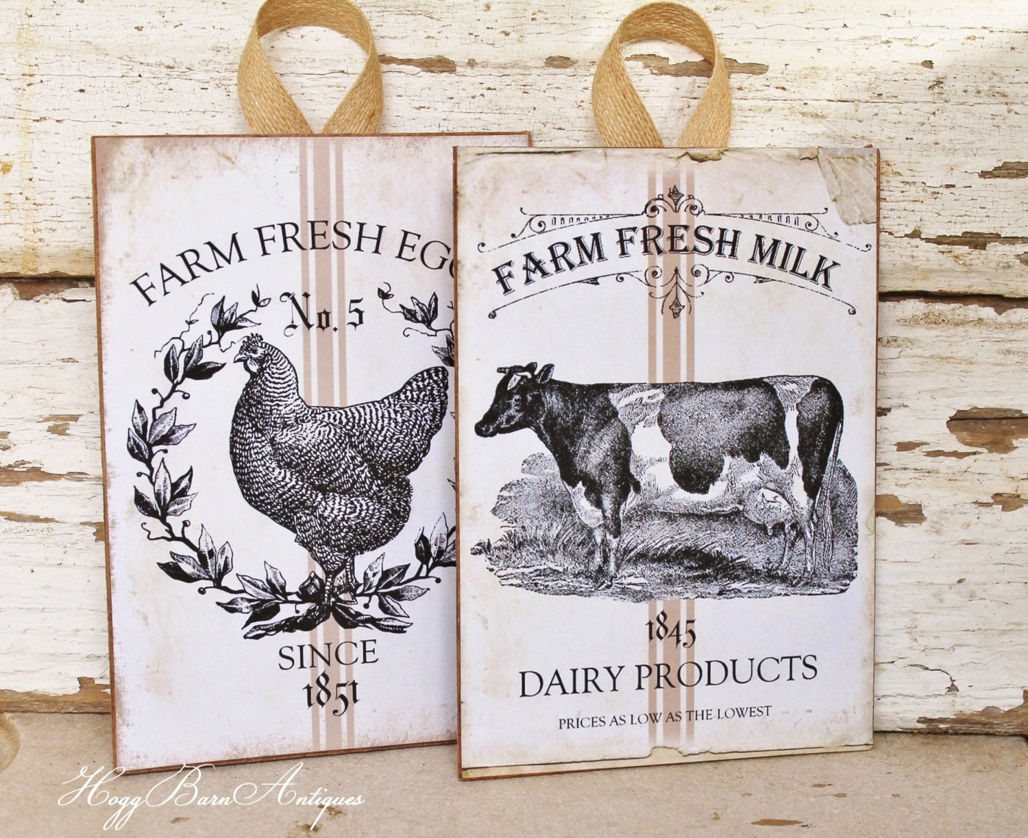 Farmhouse Wood Sign Wall Art Print Milk Eggs Grain Sack Chicken Cow Vintage French Country Chic Farmhouse Decor SET OF 2