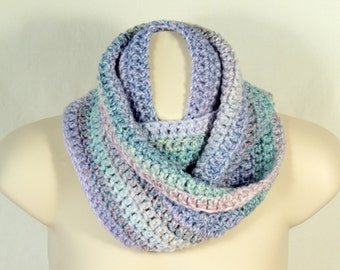 Crochet Infinity Scarf Cowl Shades of Lilac Turquoise and Pink