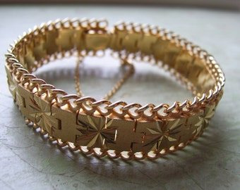 A Vintage Gold-Plated Bracelet - Etched/Engraved - circa 1960's-1970's.