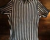 stripe black and white beatnik sweater girl JD killer pull over top