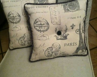 "Pillow Paris Theme Handmade- 16"" x 16"""
