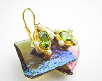 Vintage Peridot & Pearl Earrings, Enameled Sterling Silver, Gold Wash, Lever Backs, 1993.