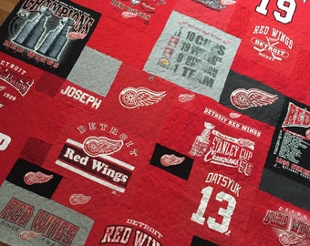 SALE-Detroit Red Wings tshirt quilt-ready to ship