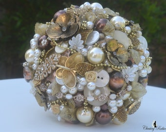 Gold Bridal Brooch Bouquet, Gold Button Bouquet, Gold Jewelry Bouquet