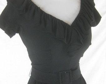 Vtg 50s 60s Mr Mort Designer Womens Vintage Black Bombshell Wiggle Dress W 25