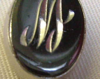 "Vintage Initial Tie Tack...Silver Letter ""M""...Hematite Background...Initial Letter ""W""..Lapel Initial Pin"